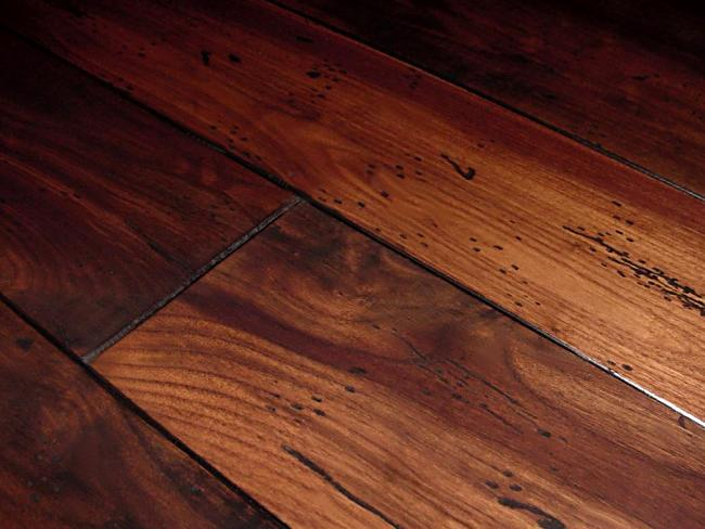 Walnut antique distressed french bleed hardwood flooring for Antique hardwood flooring