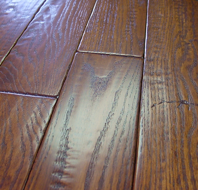 Red oak prefinished hand scraped distressed hardwood for Distressed wood flooring