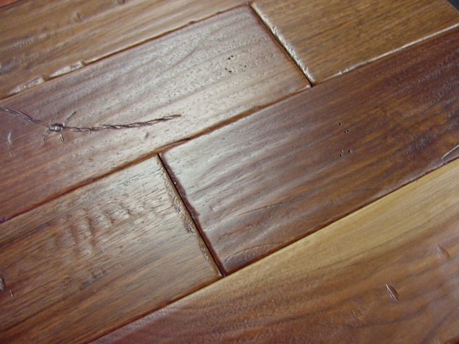 Walnut Prefinished Hand Scraped & Distressed Hardwood Flooring Photo