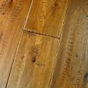 Custom Hand Scraped & Distressed Hickory Flooring w/Farrier Nail Impressions in Chestnut color