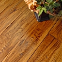 Custom Hand Scraped & Distressed Hickory Flooring w/Barbed Wire Impressions in Chestnut color